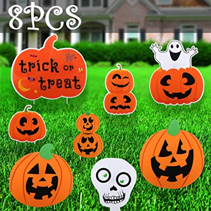 Lakuku Halloween Decorations Outdoor, Extra Large Pumpkins Skeleton and  Ghost Corrugate Halloween Party Yard Signs with Stake, Trick or Treat  Plastic