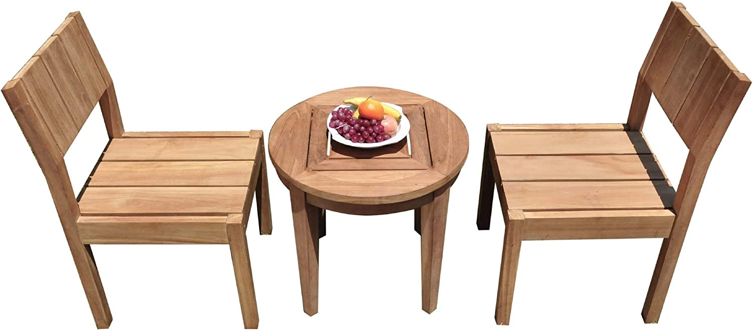 2 Seats 3 Pcs Grade-A Teak Wood Dining Set: Noida Round Side Table and 2 Veranda Armless Chairs #11VR2503 71891SU766LSL1500_