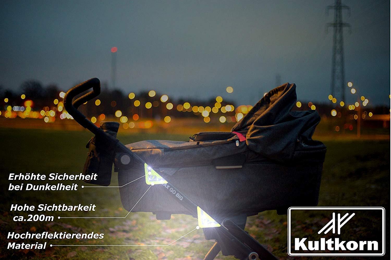 Mianninglongyuqiche Kinderwagen Reflektor-Set 4 St/ück//Gelb//Geschenk zur Geburt//Pink//Neon//Buggy//Sicherheit//Dunkelheit//Sichtbarkeit//Schutz//Baby//Kind//Stra/ßenverkehr//Hoch-reflektierend Gelb