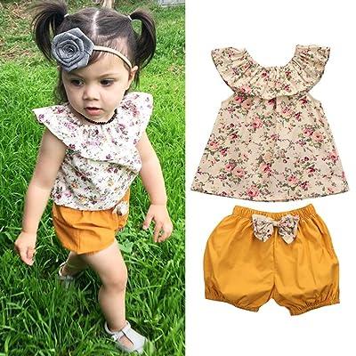 39c837c3 Baby Girls' Pant Sets,FEITONG Toddler Kids Girl Floral Sleeveless Tops+Bow  Shorts