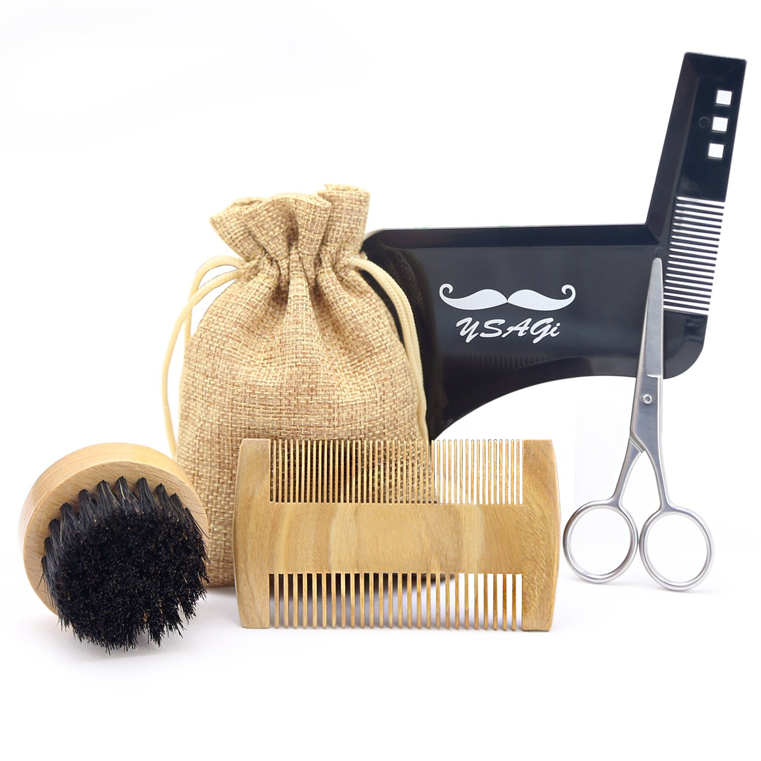 Beard Brush and Comb for Men, Handmade Wooden Comb and Boar Bristle Beard Kit, Men's Facial Hair Style Stencil Tool, Suitable for Dry or Wet Beard (Beard Comb Set) YSAGi