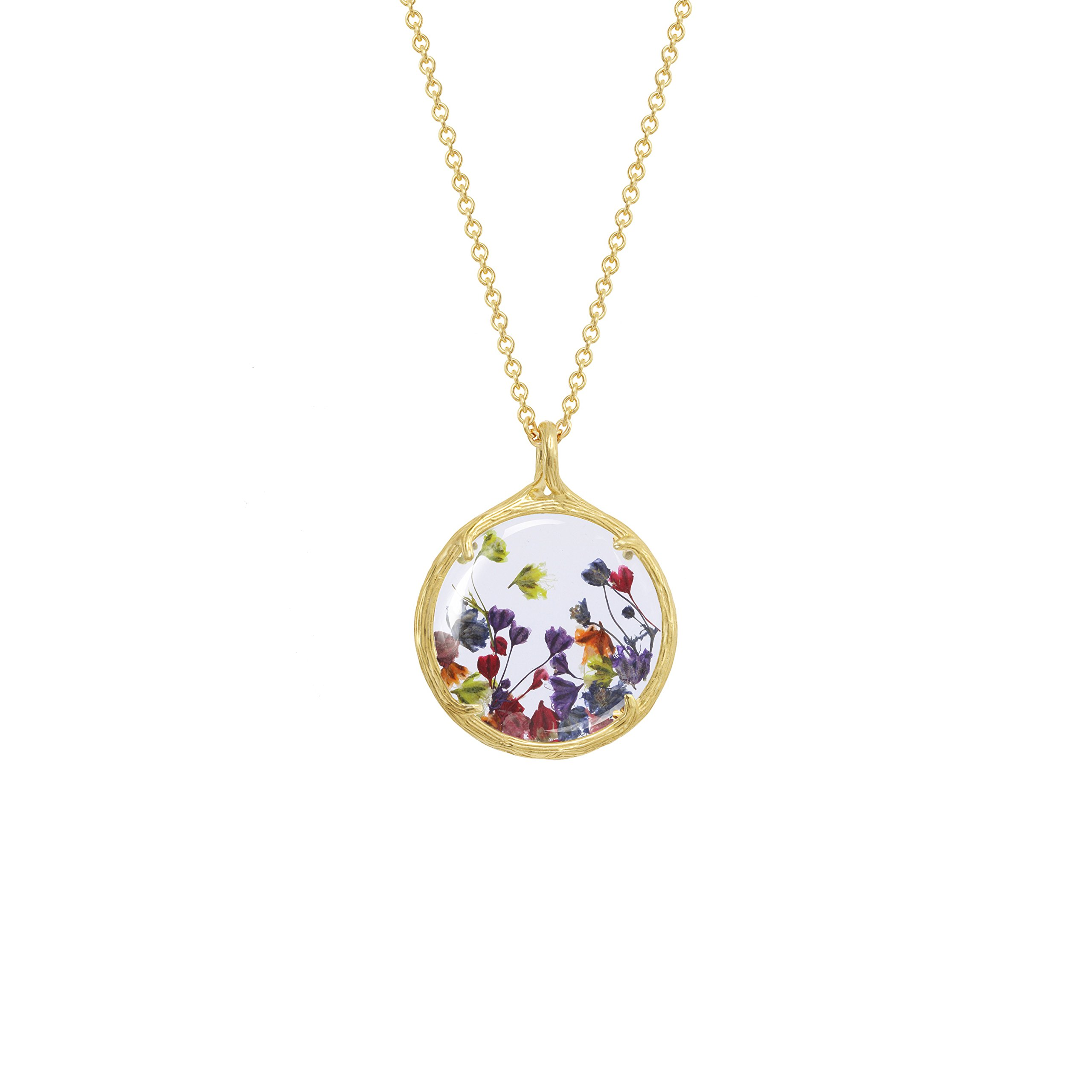 Botanical Pendant Necklace with Delicate Dried Flowers in Glass Charm (Rainbow Baby's Breath Flowers, gold-plated-base)