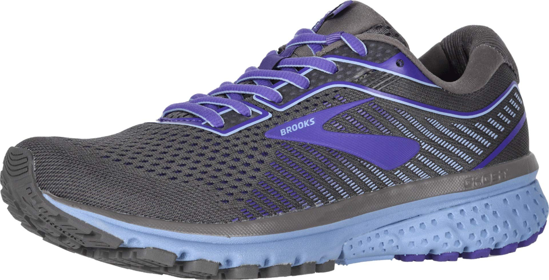 Brooks Women's Ghost 12 Shark/Violet/Bel Air Blue 10 B US by Brooks