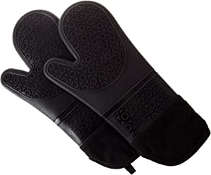 Silicone Oven Mitts – Extra Long Professional Quality Heat Resistant with Quilted Lining and 2-sided Textured Grip – 1 pair Black by Lavish Home