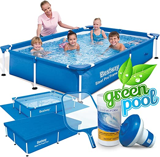 6 in1 Set Green Jardín Piscina 221 x 150 x 43 cm Frame Pool ...
