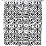 Uneekee Loretta Black White Shower Curtain: Large Waterproof Luxurious Bathroom Design Woven Fabric