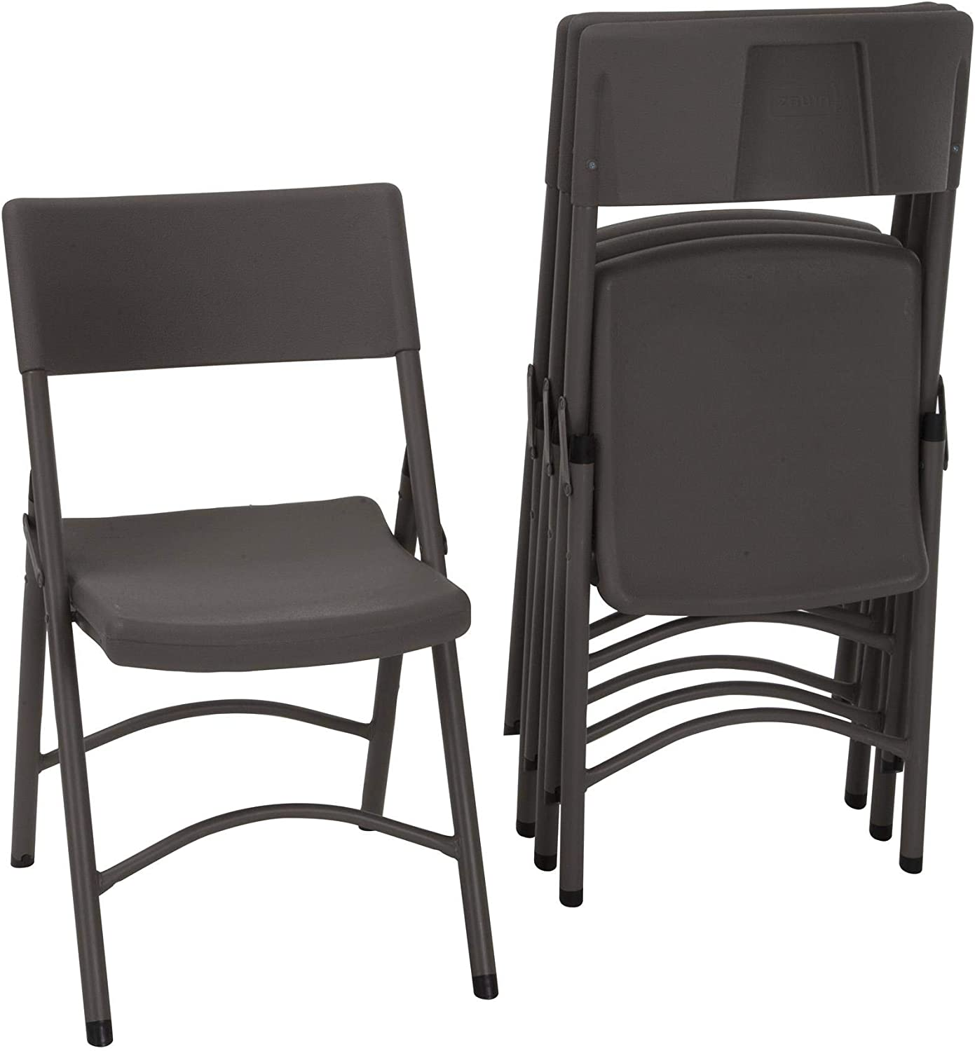ZOWN Premium Commercial Blow Mold Banquet Folding Chair, Brown, 4 Pack
