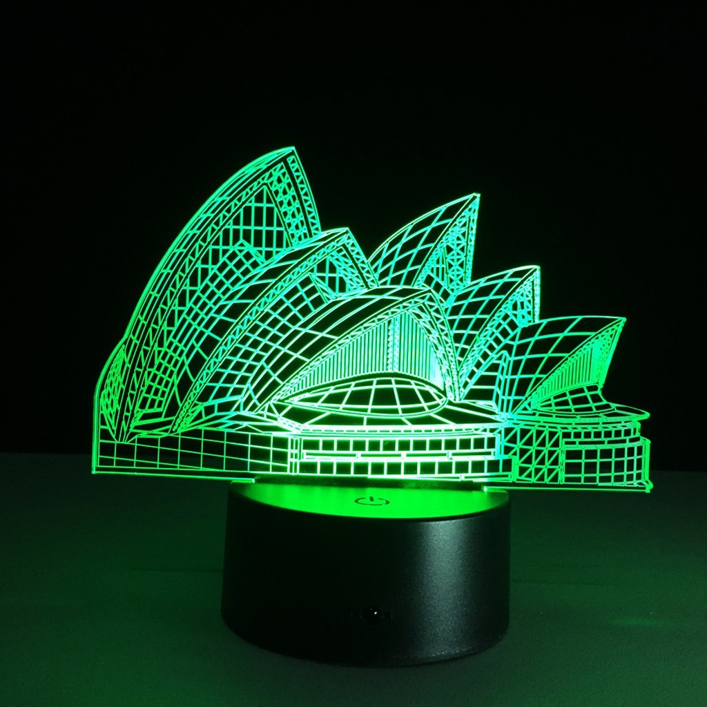 WBYD 3D Night Light Visualization Glow 7 Color Change USB Touch Button and Intelligent Remote Control Desk Table Lighting Nice Gift Home Office Decorations Toys  (Sydney Opera House)