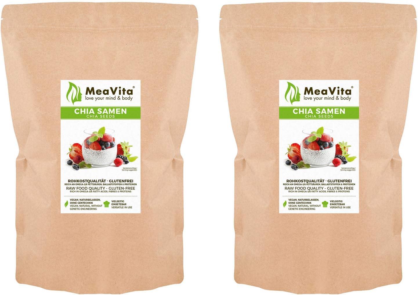 MeaVita Premium Semillas de Chia, Paquete de 2 (2 x 1000 g) 2000 g ...