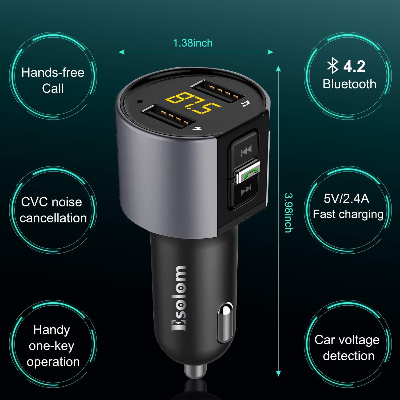 Adaptador de Radio MP3 Musica Player con Tecnolog/ía CVC Detecci/ón de Voltaje Pantalla LED ESOLOM Transmisor FM Bluetooth Manos libres Kit para Coche