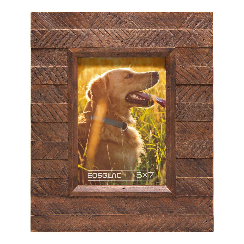 EosGlac Wooden Picture Frame 5x7 inch, Wood Plank Design with Rustic Brown Finish, Wall Mounting or Tabletop Display, HandCrafted Photo Frame(5x7, Brown)