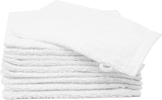 Zollner 10 manoplas de baño de rizo algodón 100%, 16x21 cm, blancas: Amazon.es: Hogar