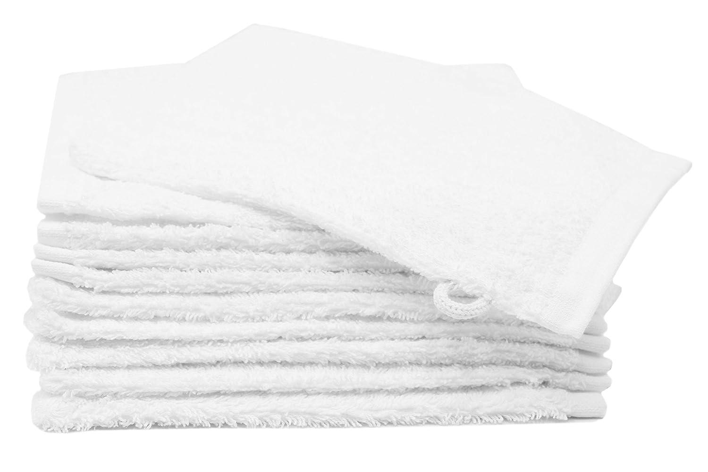 Zollner 10er Set Waschlappen Waschhandschuh aus Baumwolle, Farbe weiß, ca. 16x21 cm Farbe weiß