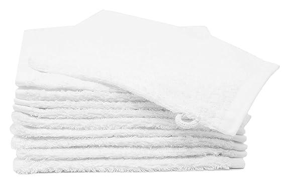 Zollner Juego de 10 manoplas de baño de rizo, 16x21 cm, 100% algodón, blancas, con trabilla para colgar: Amazon.es: Bebé