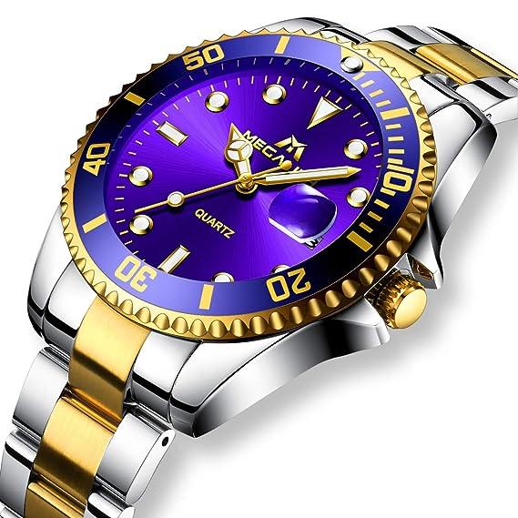 Relojes Hombre Acero Inoxidable Reloj de Pulsera de Lujo Moda Impermeable Fecha  Calendario Clásicos Analogicos Reloj 731d6133da16