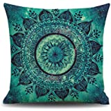 European Retro Mandala Moroccan Ethnic Style Turquoise Teal Color Cotton Linen Throw Pillow Case Personalized Cushion Cover NEW Home Office Decorative Square 18 X 18 Inches