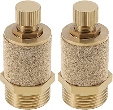 uxcell Top Adjustable Pneumatic Air Exhaust Silencer Muffler Copper 3//8 BSPT Gold Tone 2pcs