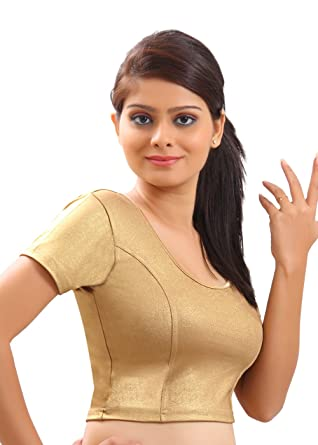 540a7b221e7b54 Amazon.com  Premium Gold Designer Lycra Stretch Saree Blouse Sari Choli  Crop Top - A-10l  Clothing