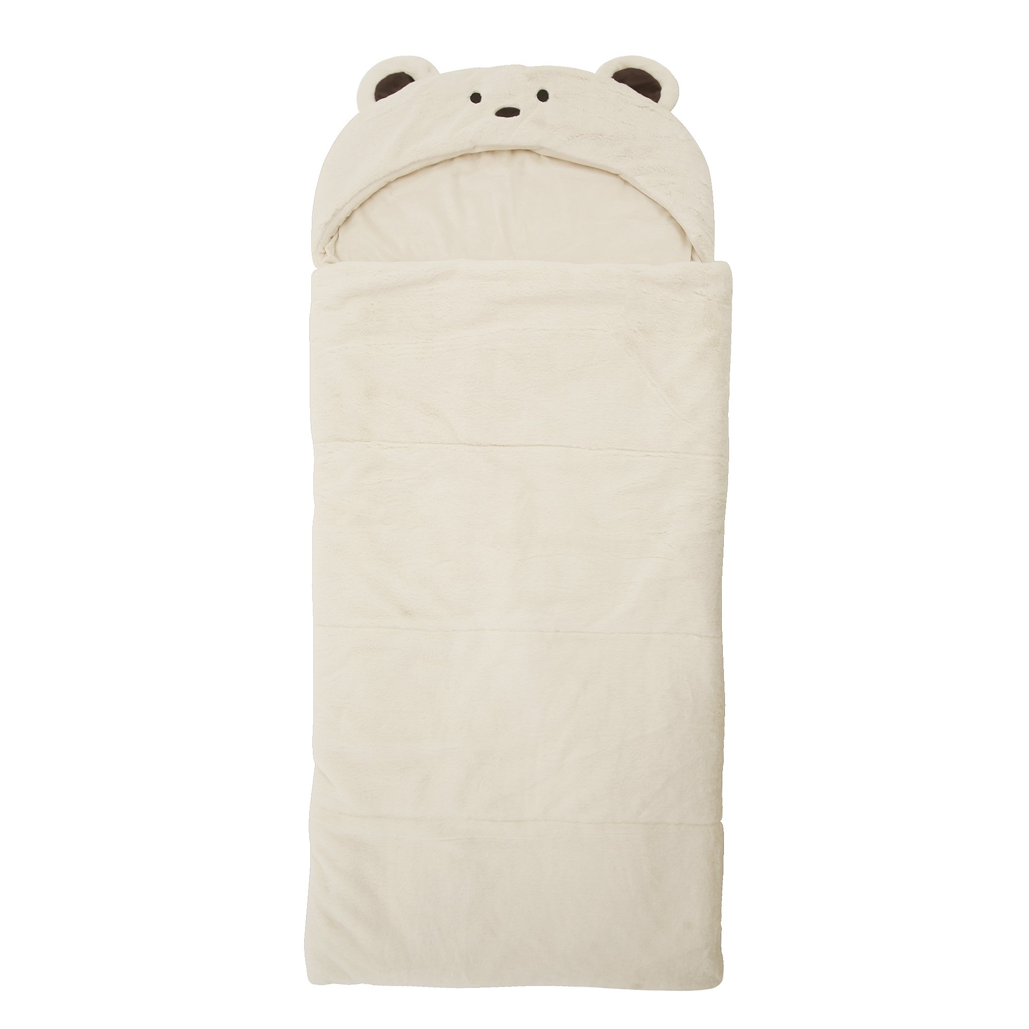 Best Home Fashion Plush Faux Fur Hooded Bear Animal Sleeping Bag - Cream - 27''W x 59''L - (1 Sleeping Bag)