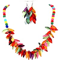 Comelyjewel Fashion Jewelry Charm Acrylic Resin Beads Leaf Bubble Women Necklace and Earrings Set