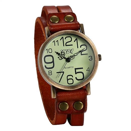 JewelryWe Reloj de Moda para Mujer Reloj de Pulsera de Cuero Marrón, Reloj Retro Vintage para Chicas Gótico Reloj de Cuero Trenzado, Regalo de Navidad: ...