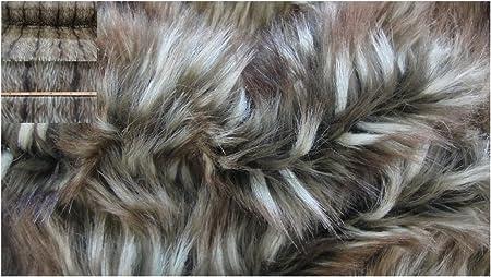 Textilgrosshandel24 Darklight Brown Fake Fur Grizzly Fabric 3449