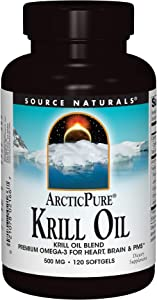 Source Naturals ArcticPure Krill Oil 500mg Packed with Omega-3 Fatty Acids, EPA & DHA - Antioxidant Rich Astaxanthin & Phospholipids For Brain & Heart Support - 120 Softgels