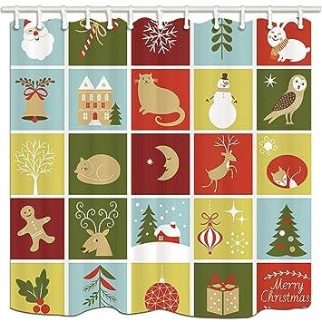 KOTOM cortinas de ducha de tela de Navidad, colección de Santa Ginger pan muñeco de nieve ...