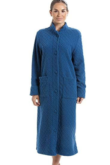 Camille Blue Soft Fleece Floral Full Length Button Up Housecoat at Amazon Womens Clothing store:
