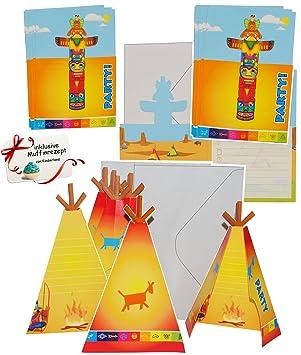 16 Tlg. Set _ Einladungskarten   Incl. Umschlag   U0026quot; Indianer Zelt /