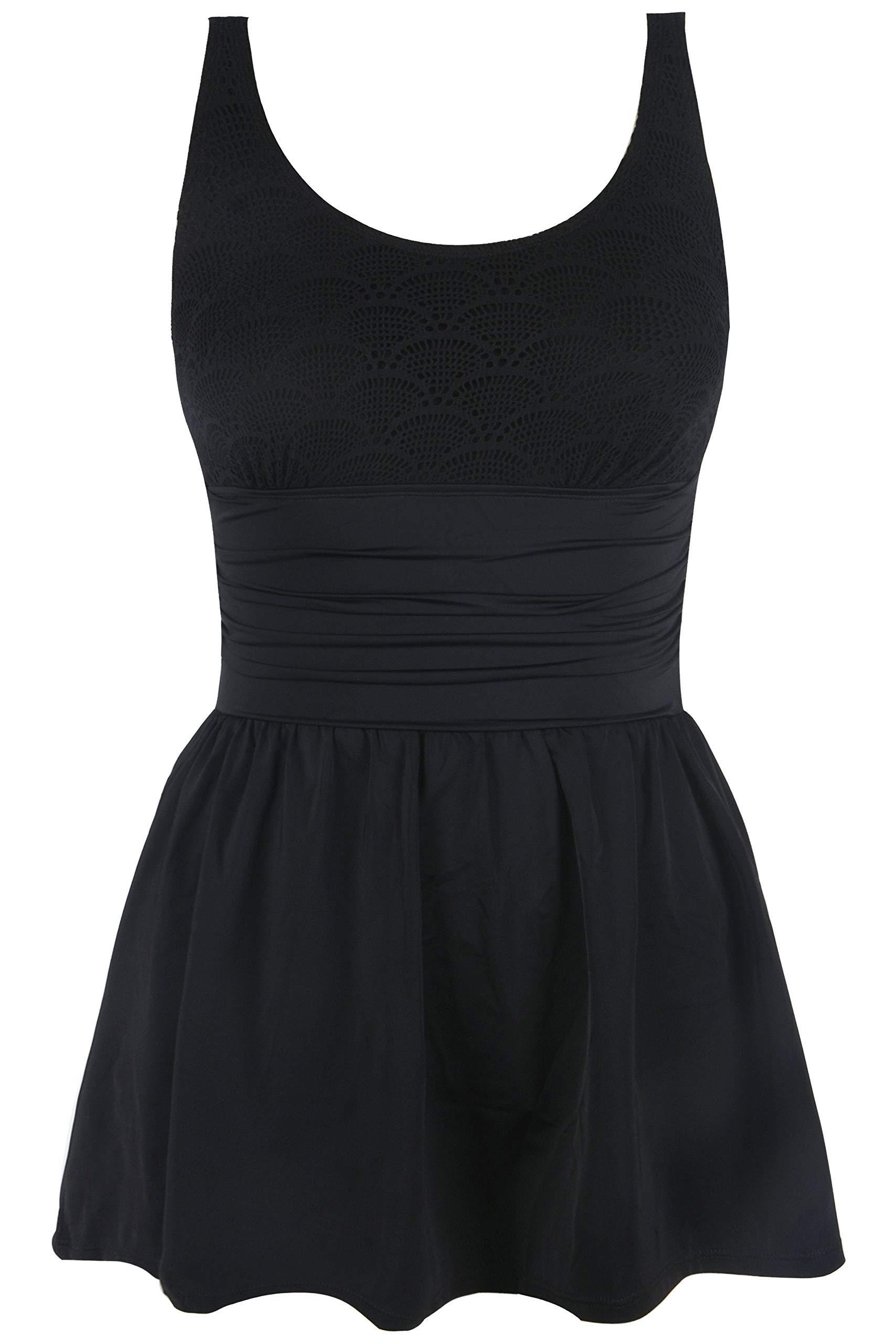 Septangle Women Tummy Control Swim Dress One Piece Skirt Swimsuit,US 8