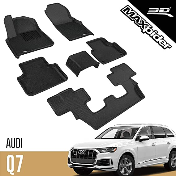 1st /& 2nd Row, Black 3D MAXpider All-Weather Floor Mats for Custom Fit Floor Mats for Audi Q5 2018 2019 2020 All-Weather Car Floor Mats Liners Kagu Series