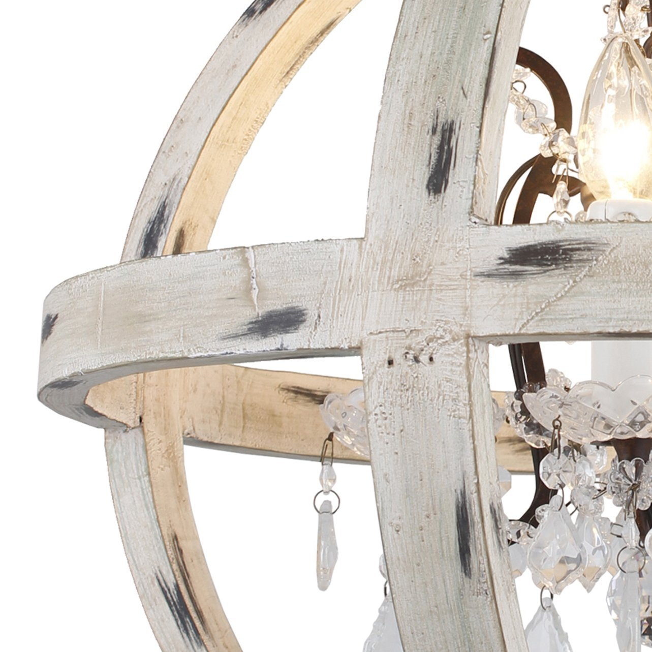 Y-Decor LZ13-4WH 4 Light Candle Style Globe Clear Glass Crystals in Withered White Wood Finish Chandelier WoodFinish