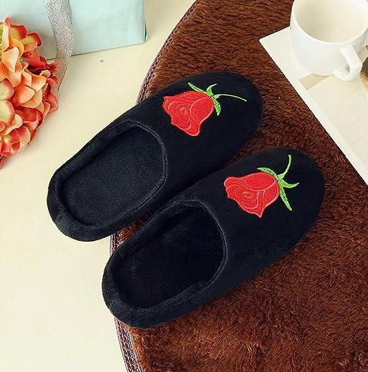 Cozy Indoor Floor Shoes,Nevera Closed Toe Comfort Memory Foam Slippers Rose Print Slipper Shoes Slip On Anti-Skid Sole