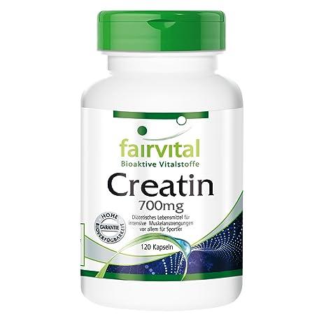 Creatina 700 mg - para 24 días - Alta dosificación - 120 cápsulas - monohidrato de