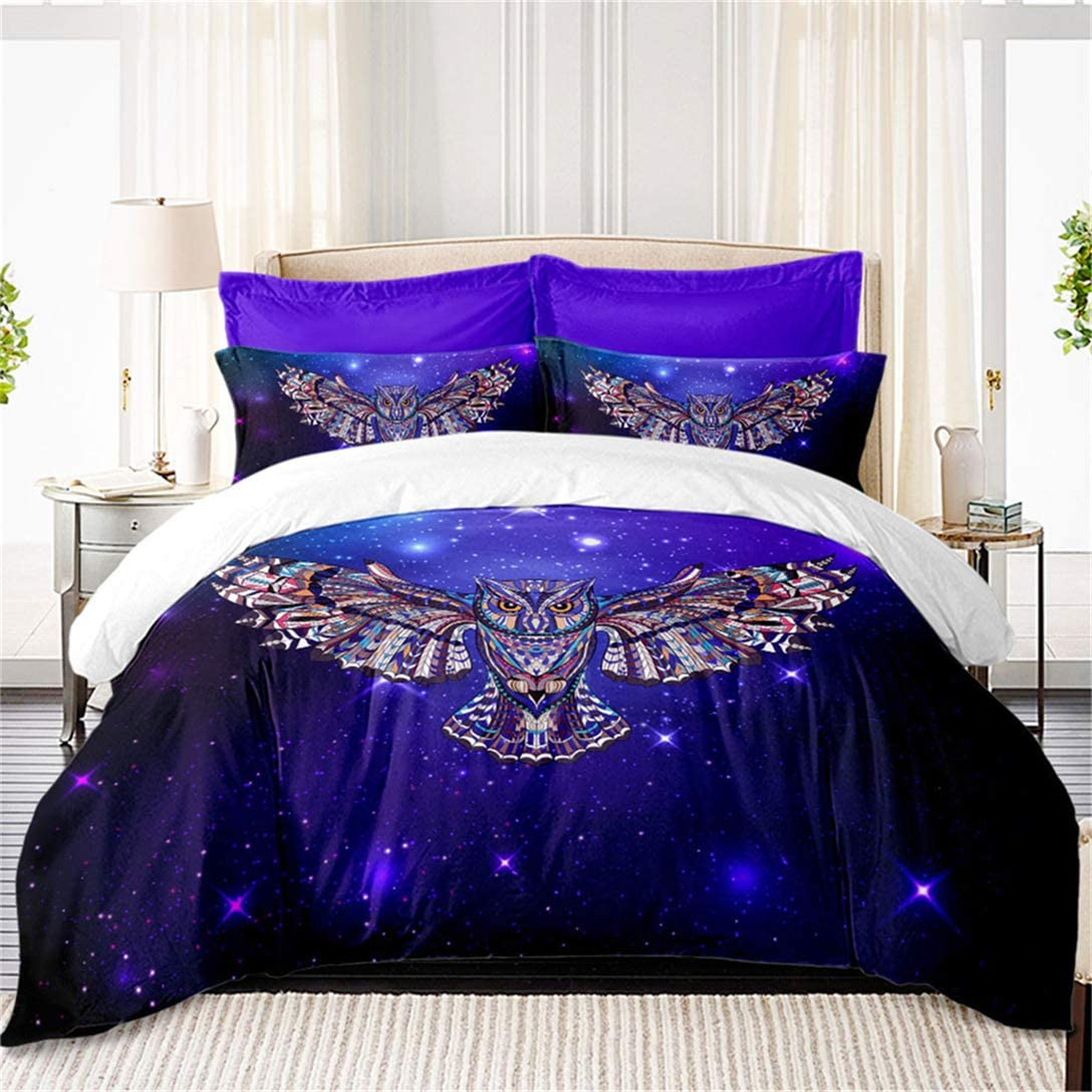 Junsey 3D Flying Owl Bedding Set,Purple Galaxy Duvet Cover Set,Colorful Animal Design Bedding Queen Size