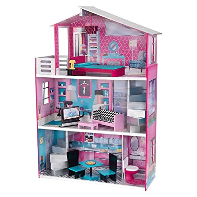 "KidKraft Wooden Breanna Dollhouse for 18"" Dolls with 12Piece Accessories, 5-Foot Tall Toy, Multicolor, Model:65882: Toys & Games"