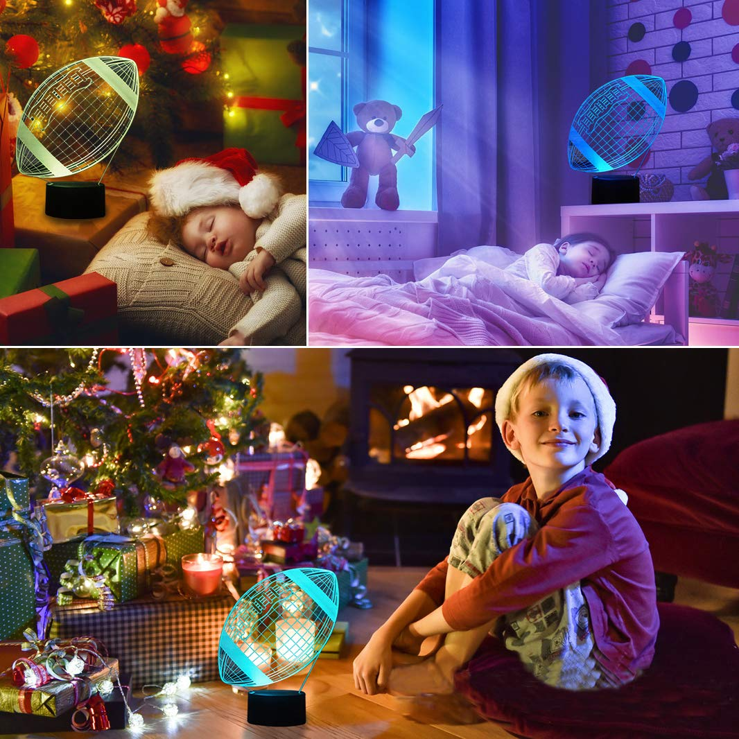LED Nacht Lichter 3D Illusion Nachttisch Lampe 7 Farben /ändern Schlafen Beleuchtung mit Smart Touch Button Nette Geschenk Warming kreative Dekoration ideale Kunst und Handwerk Rugby