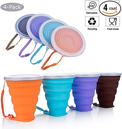 Graduated BPA Free 6 Pack Silicone Folding Camping Cup with Lids Reuseable 9.22oz Expandable Drinking Cup Set Portable DARUNAXY Silicone Collapsible Travel Cup