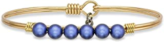 product image for Luca + Danni | Crystal Pearl Bangle Bracelet In Iridescent Dark Blue For Women Made in USA