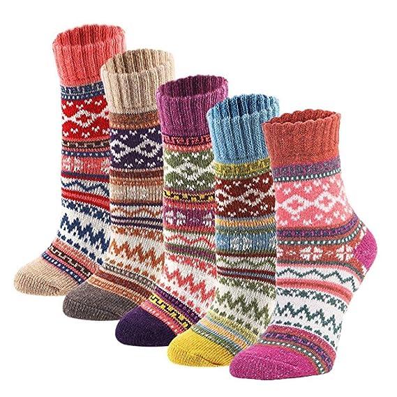 TOOGOO 5 Pares Calcetines Invisibles De Punto Frio Grueso Calido Suave De  Invierno Vintaje De Mujer Multicolor 5ff7c103179