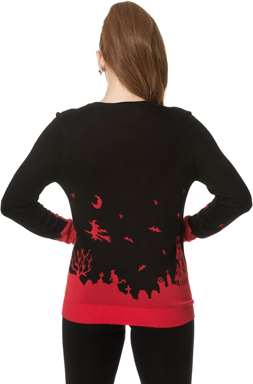 Banned Dark Skyline Gothique Manches Longues Tricot Fin Boutonn/é Cardigan Femme