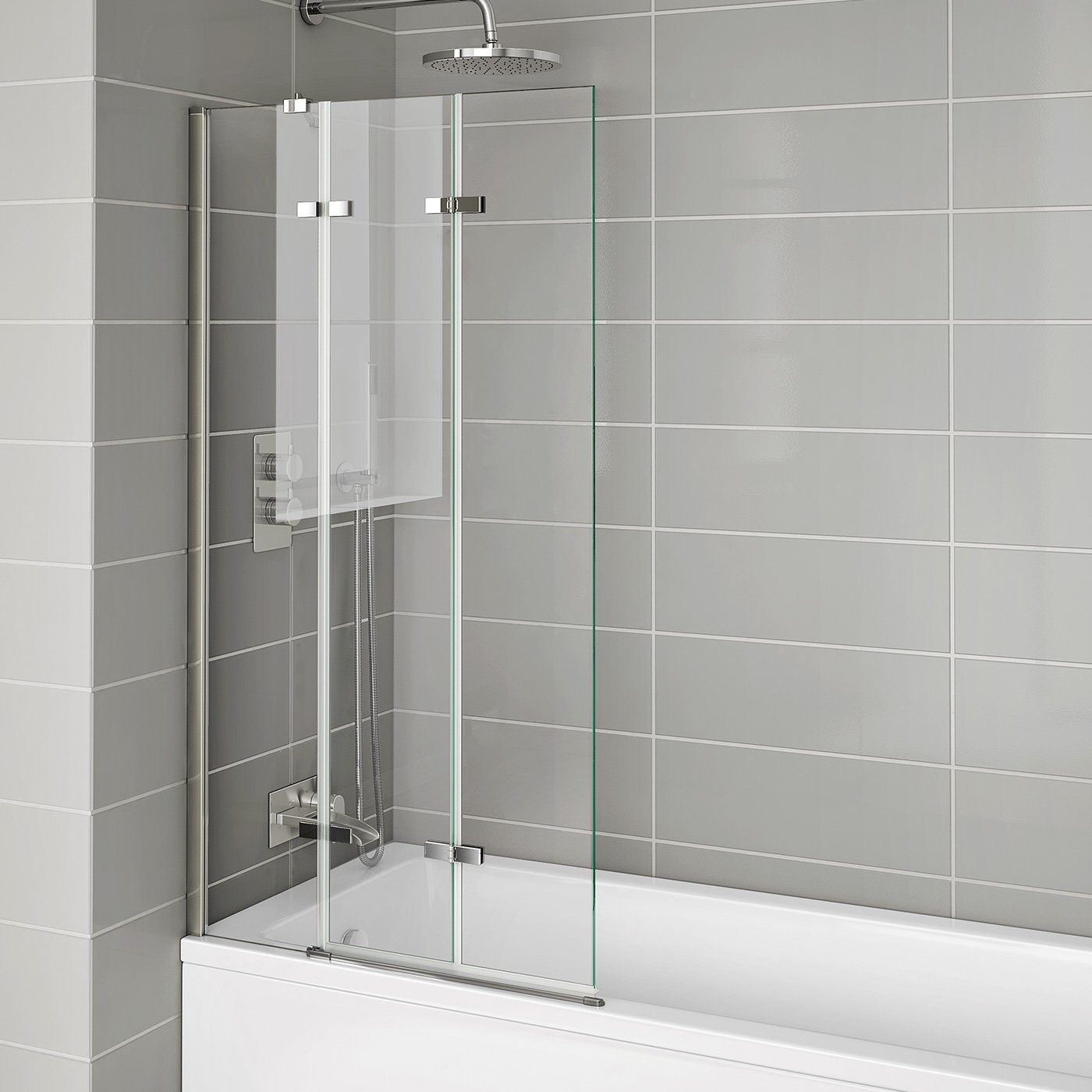 800mm Luxury Folding Bath Shower Glass Screen Pivot Door Panel - Left Hand iBathUK