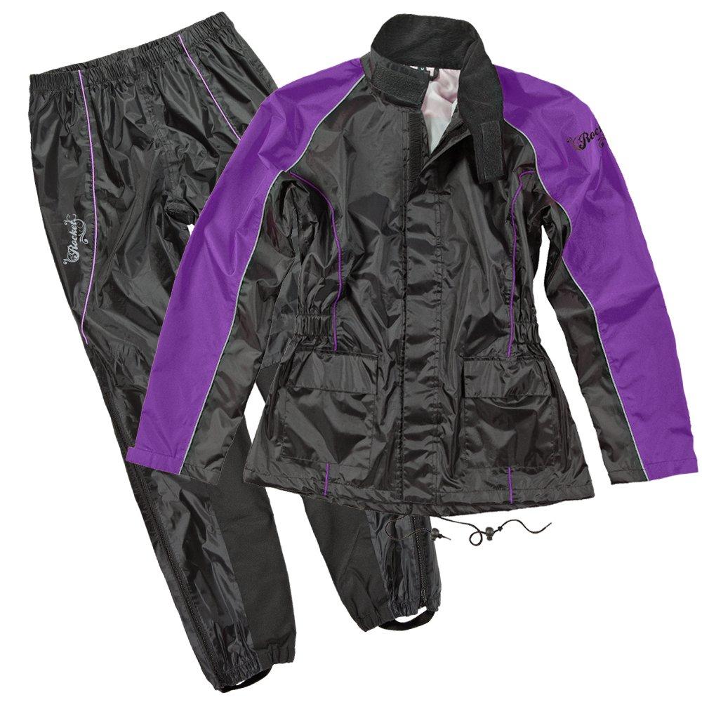 Joe Rocket RS2 Womens 2-Piece Motorcycle Rain Suit (Black/Purple, X-Large)
