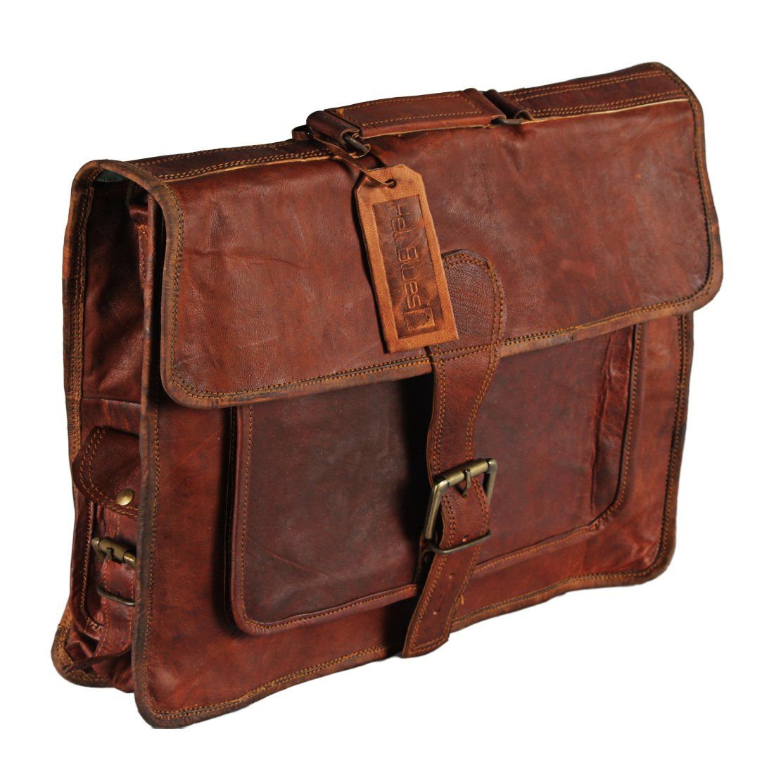Leather satchel upto 15.6 inch laptop bag by Hell Blues