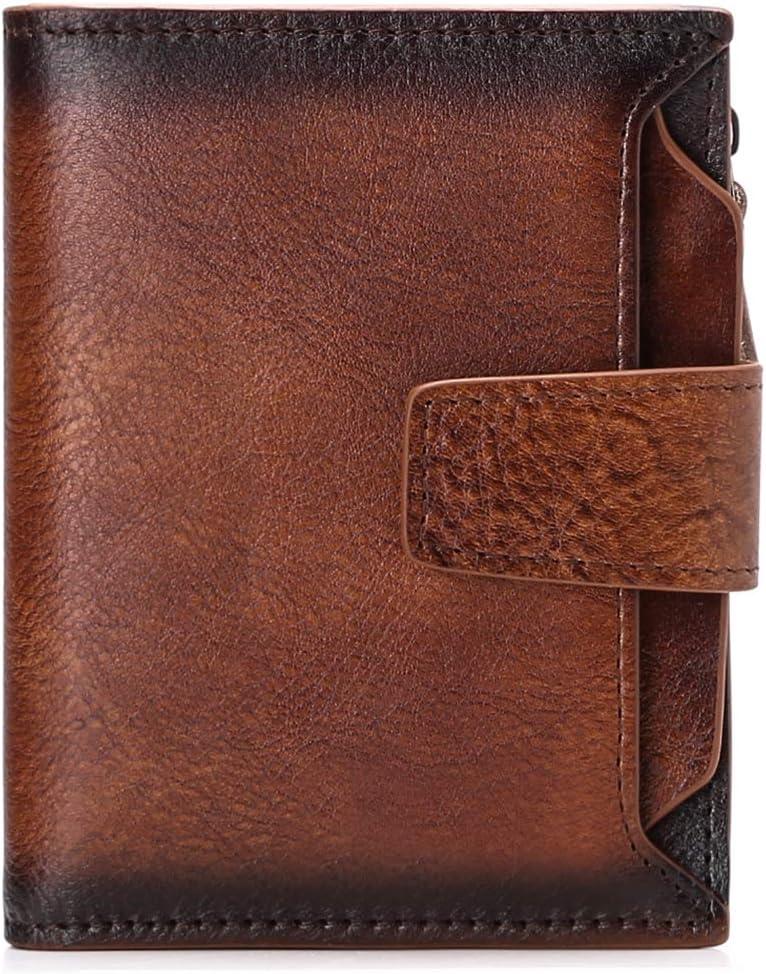 SENDEFN Mens Wallet Genuine Leather RFID Blocking Wallet for Mens Zipper Coin Pocket Wallet
