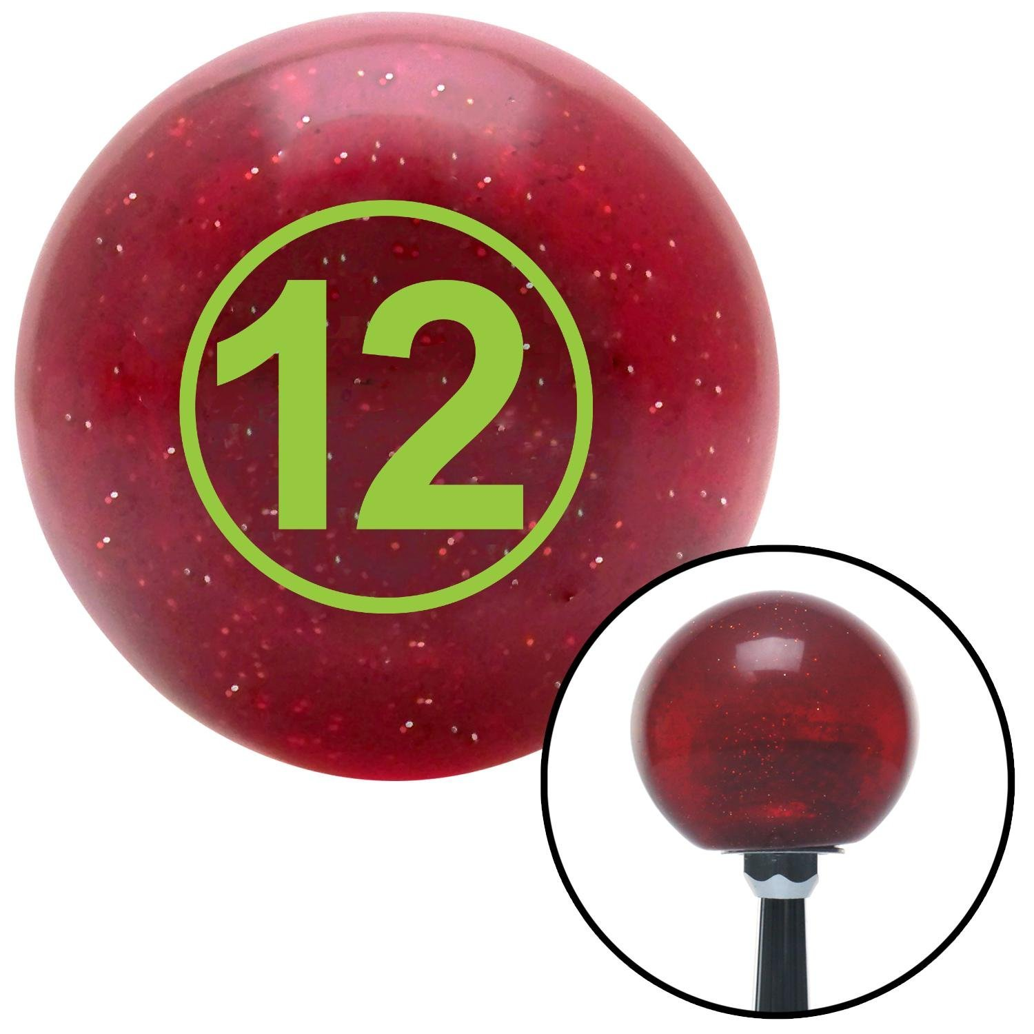 American Shifter 47431 Red Metal Flake Shift Knob with 16mm x 1.5 Insert Green Ball #12