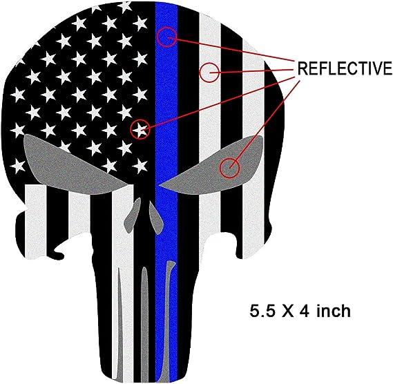 Amazon.com: Adhesivos reflectantes Punisher Skull bandera de ...