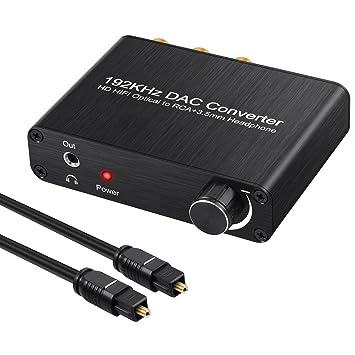 Neoteck 192kHz DAC Convertidor Digital Óptico Coaxial Toslink a Analógico Estéreo L/R RCA 3.5