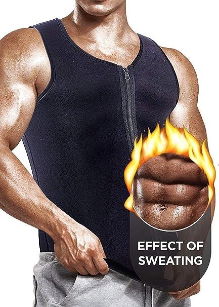 Hombres Chaleco de Entrenamiento de Cintura para Adelgazar Cors/é de Neopreno Caliente Body Shaper Tank Top Camisa de Chaleco de Sudor P/érdida de Peso Entrenador de Cintura Tank Top Fajas